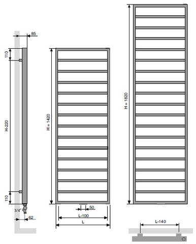 Vasco Bathline Ba radiator 600x1420 mm. n15 as=1188 770w antraciet m301