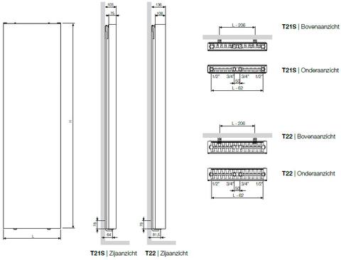 Vasco Flat-V-Line 22 radiator 800x1600 mm. as=onderzijde 2562w wit s600