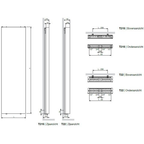Vasco Flat-V-Line 22 radiator 700x1600 mm. as=onderzijde 2241w wit s600