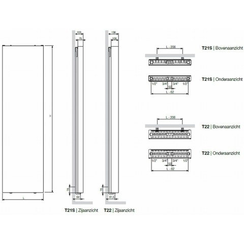 Vasco Flat-V-Line verticale radiator type 21s - 160x40 cm (H x L)