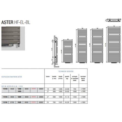 Vasco Aster Hf-El-Bl electr.radiator m/blower 500x1805 n27 2000w bruin-zwart 9826