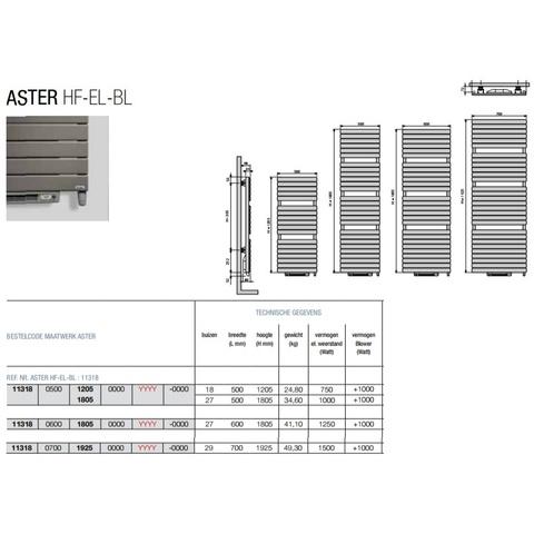 Vasco Aster Hf-El-Bl electr.radiator m/blower 500x1805 n27 2000w wit ral 9016