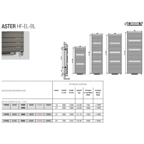 Vasco Aster Hf-El-Bl electr.radiator m/blower 500x1805 n27 2000w window grey ral 7040