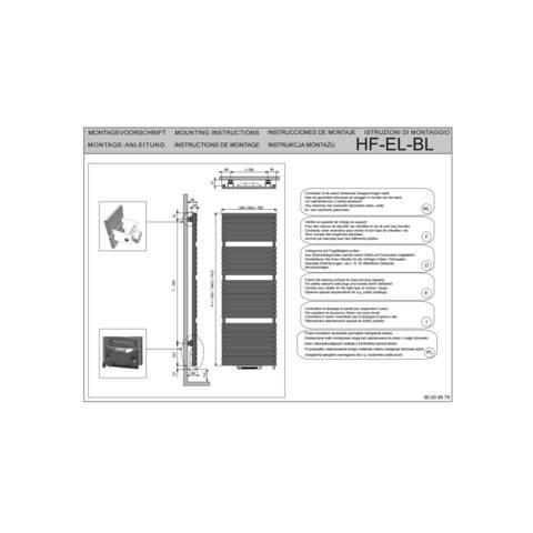 Vasco Aster Hf-El-Bl electr.radiator m/blower 500x1805 n27 2000w wit s600