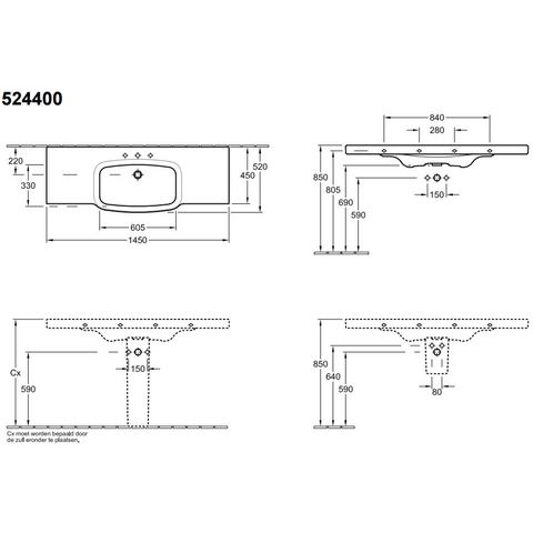 Villeroy & Boch Subway 2.0 sifonkap voor wastafel wit