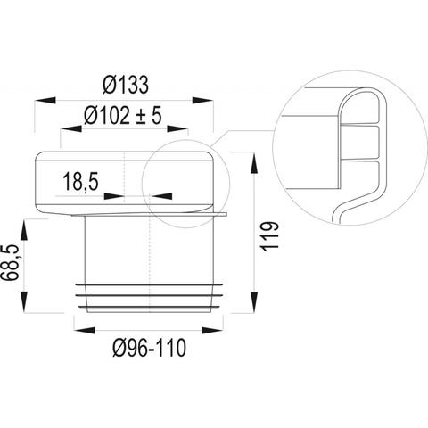 Wisa  closetafvoermanchet 110 mm. exentrisch nr.7