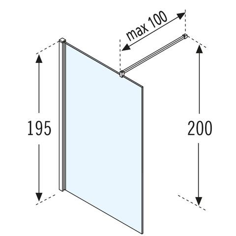 Novellini Giada h inloopdouche 90x195 cm. matchroom-helder glas