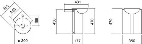 Alape Wp.insert 5 hoekmeubelset 25x25 cm. wit
