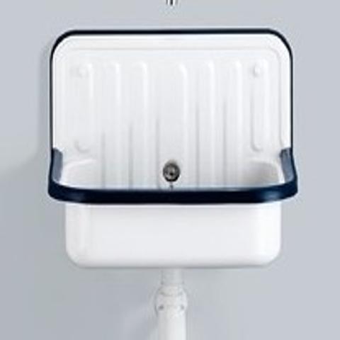 Alape Ag Serie plaatstalen uitstortgootsteen met stootrand wit-blauw