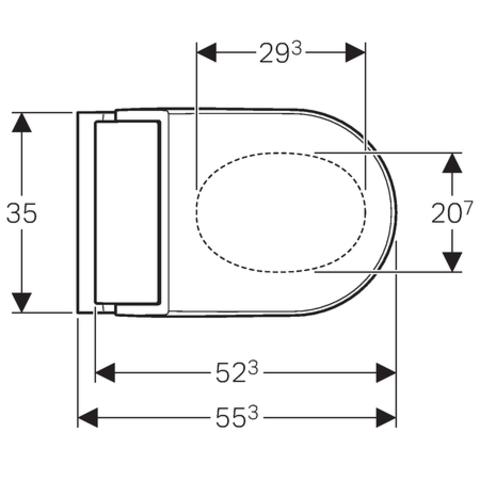 Geberit Aquaclean Tuma wandcloset met douche wc met wit glas decorplaat wit-glas