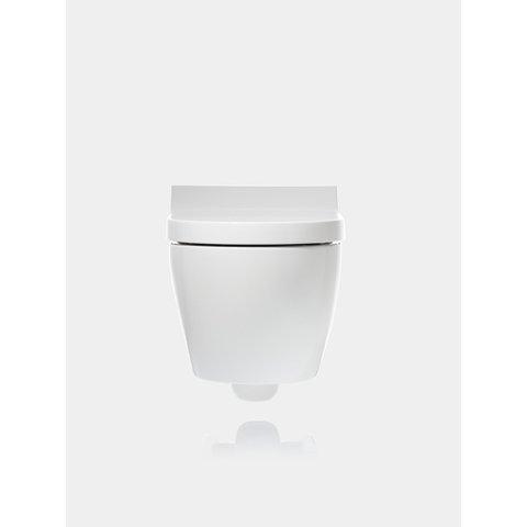 Geberit Aquaclean Tuma wandcloset met douche wc met rvs geb. decorplaat wit