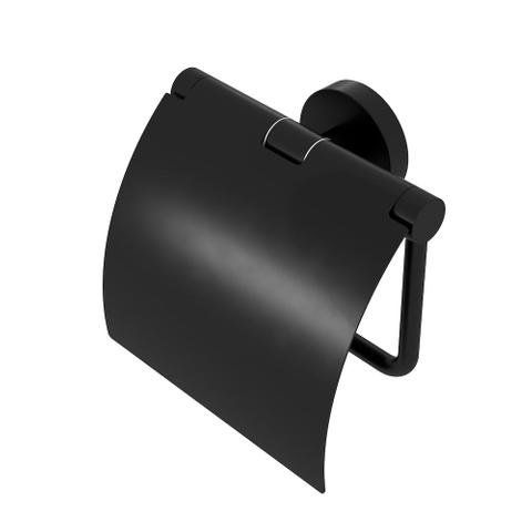 Geesa Nemox Black closetrolhouder met klep mat zwart