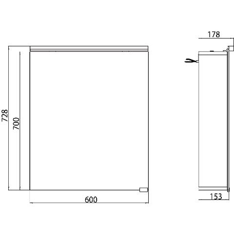 Emco Asis Pure Led led spiegelkast 1 deur m/wastafelverlichting 60cm. spiegel/aluminium