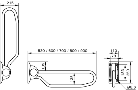 Handicare Ergogrip opklap beugel 53 cm. wit