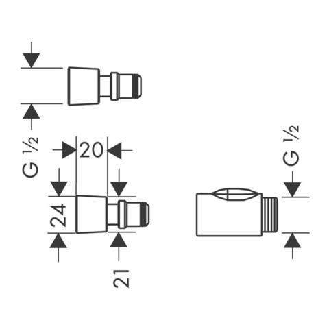 """Hansgrohe Universeel snelkoppeling 1/2"""" compleet"""