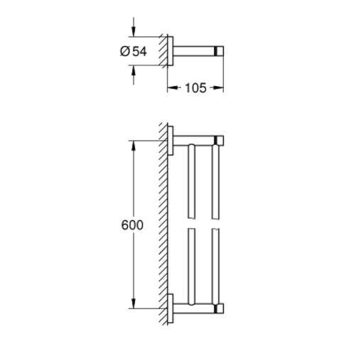 Grohe Essentials handdoekhouder dubbel 60cm. hard graphite