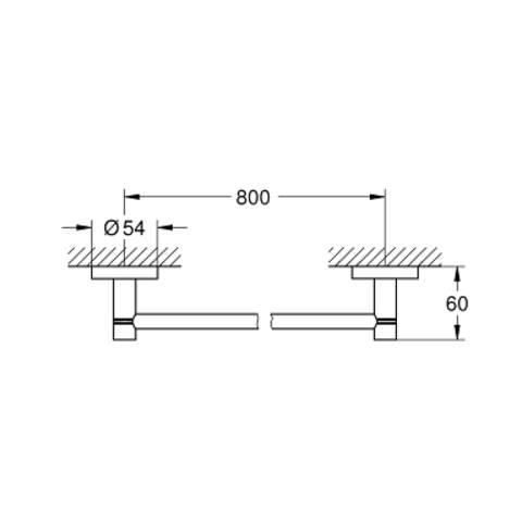Grohe Essentials handdoekhouder 80 cm. hard graphite