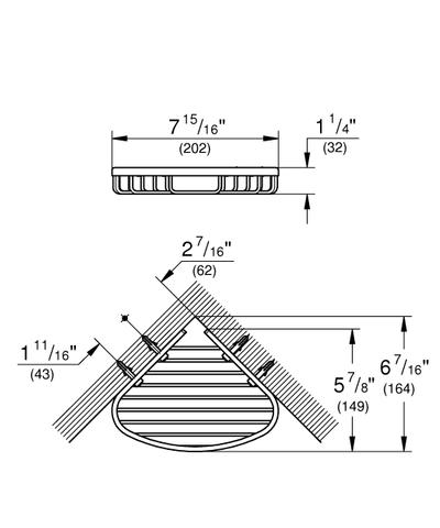 Grohe Bau Cosmopolitan korf hoekmodel 20 cm. chroom