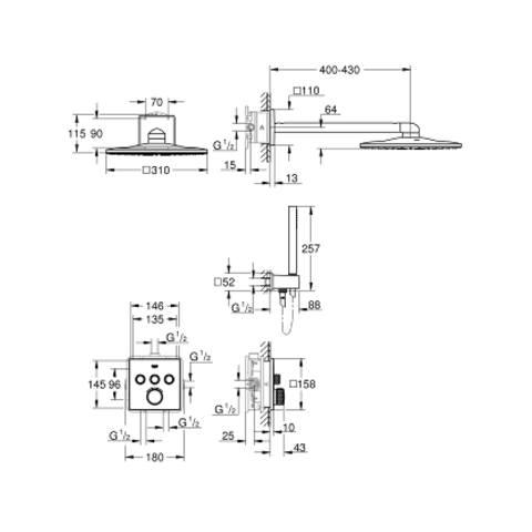 Grohe Smartcontrol comfortset compleet-hoofddouche vierkant 310 mm. chroom