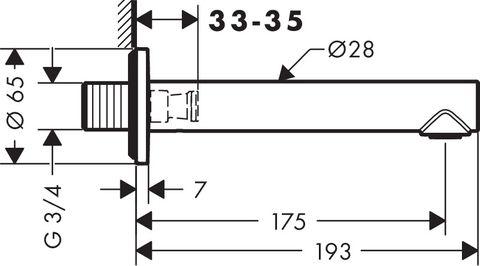 Axor Uno 3 baduitloop recht chroom
