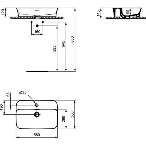 Ideal Standard Ipalyss opzetwastafel 55x38cm