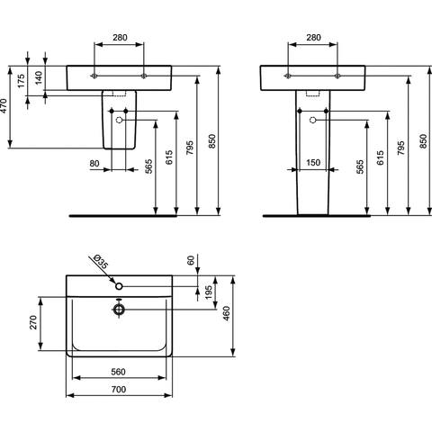 Ideal Standard Connect Cube wastafel 70x46cm