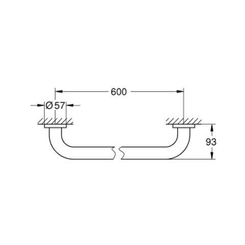 Grohe Essentials wandgreep 600 mm. supersteel
