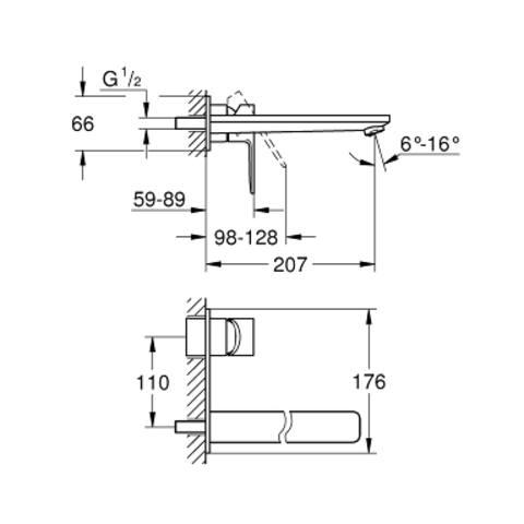 Grohe Lineare afdekset voor inbouw wastafelkraan - 20,7cm - chroom