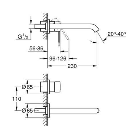 Grohe Essence afbouwdeel voor inbouw wastafelkraan - 23cm - hard graphite geborsteld