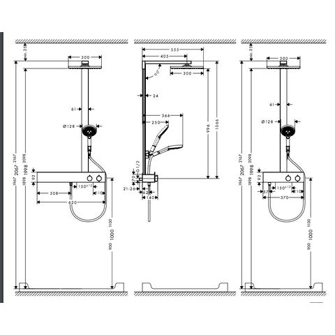 Hansgrohe Raindance E Square E300 showerpipe 1-jet chroom