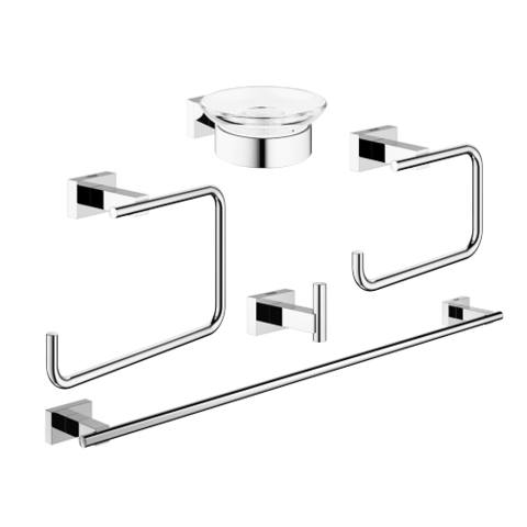 Grohe Essentials Cube accessoireset 5-in-1 (haak-handdh-rolh-zeeph-ring) chroom
