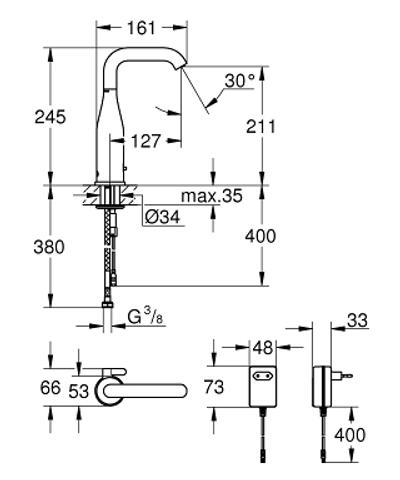 Grohe Essence E electronische wastafelkraan ir 230v met menging chroom