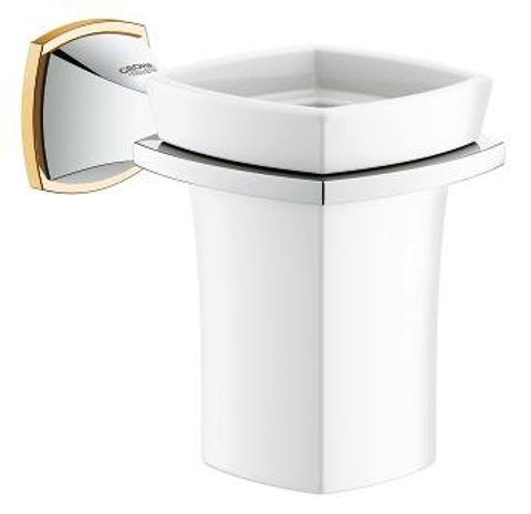 Grohe Grandera glashouder met glas chroom-goud