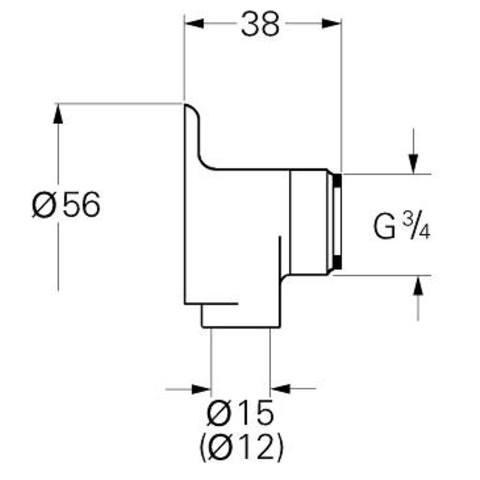 """Grohe  set muurplaat koppeling 3/4""""bu.x 15 mm. chroom"""