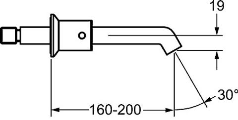 Hansa Designo afdekset 3-gats wastafelkraan uitloop 200-160 mm. chroom