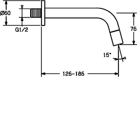 Hansa Nova Style tapkraan wanduitloop 186 mm.
