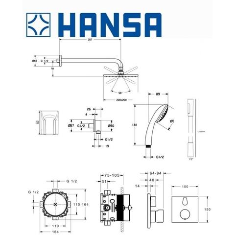 Hansa Bluebox inbouw doucheset chroom - vierkant