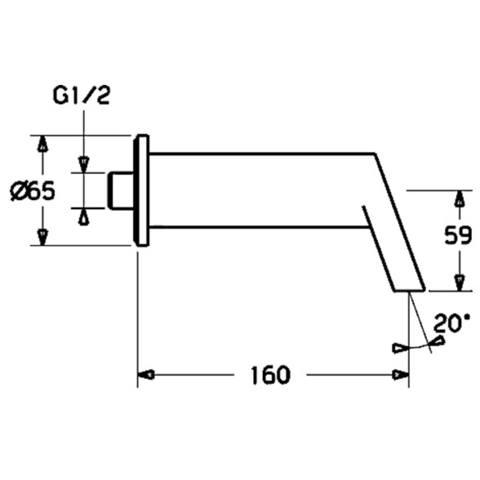 """Hansa Stela baduitloop 1/2"""" sprong 160 mm. chroom"""