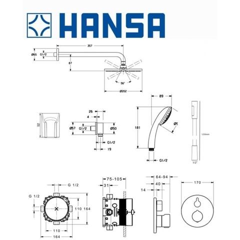 Hansa Bluebox inbouw doucheset chroom - rond