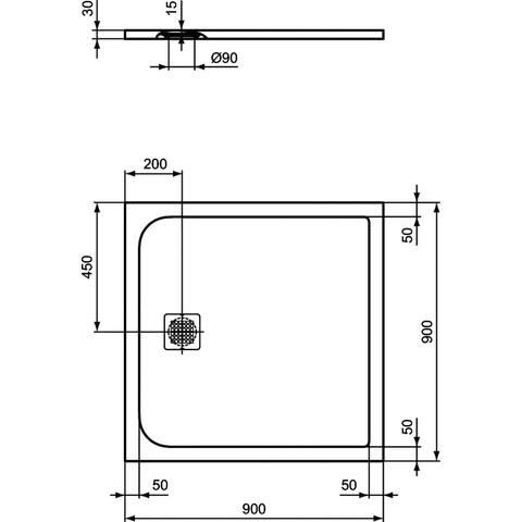 Ideal Standard Ultra Flat Solid douchevloer 90x90cm - zwart