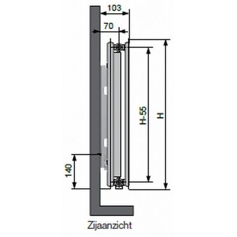 Vasco Flatline T21s paneelradiator type 21 - 40 x 40 cm (L x H)
