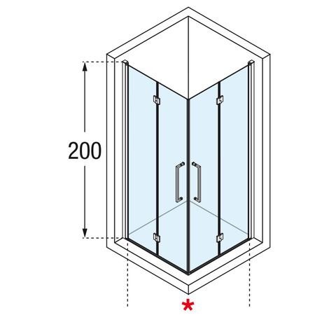 Novellini Young 2.0 hoekinstap met vouwdeur 87 x 200 cm. matchroom-helder glas