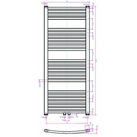 Blinq Altare G handdoekradiator 120 x 50 cm (H X L) grijs metallic
