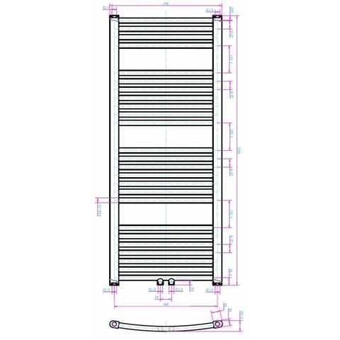 Blinq Altare G handdoekdesignradiator 120 x 50 cm (H X L) wit
