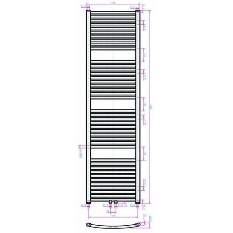 Blinq Altare G handdoekradiator 180 x 50 cm (H X L) grijs metallic