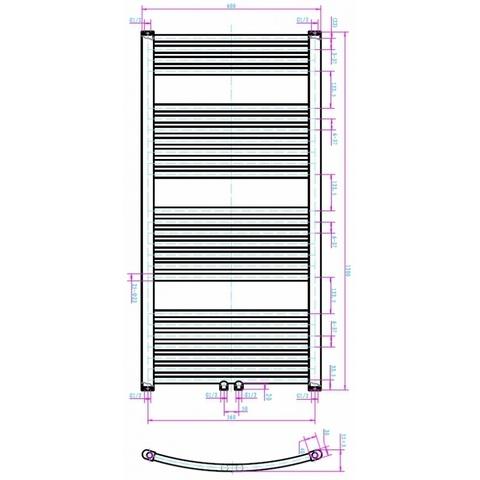Blinq Altare G handdoekdesignradiator 120 x 60 cm (H X L) grijs metallic