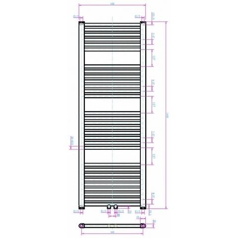 Blinq Altare R handdoekradiator 140 x 50 cm (H X L) grijs metallic
