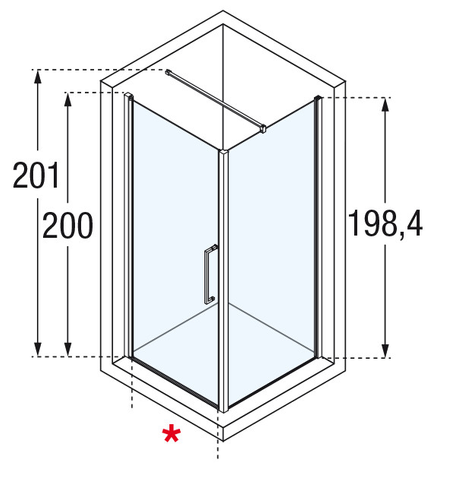 Novellini Young 2.0 zijwand 89 x 200 cm. matchroom-helder glas