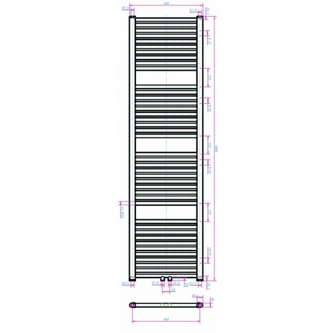 Blinq Altare R handdoekdesignradiator 180 x 50 cm (H X L) grijs metallic