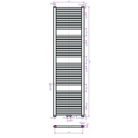 Blinq Altare R handdoekradiator 180 x 50 cm (H X L) wit